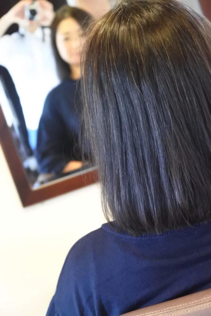リタッチ縮毛矯正の時点から、パキッとしない自然な毛先を心掛けています